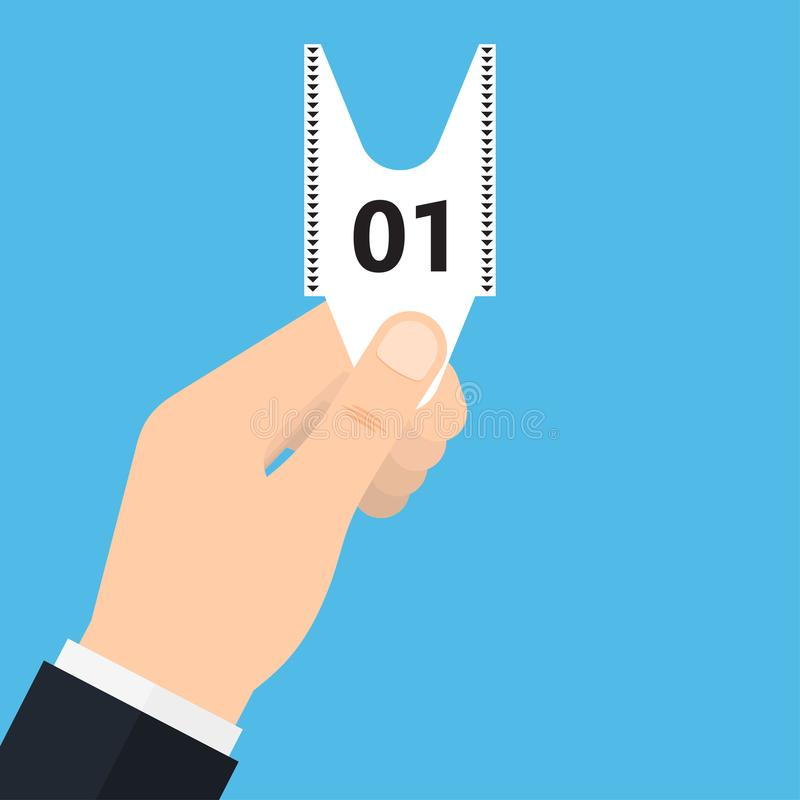 Queue number ticket in hand. royalty free illustration