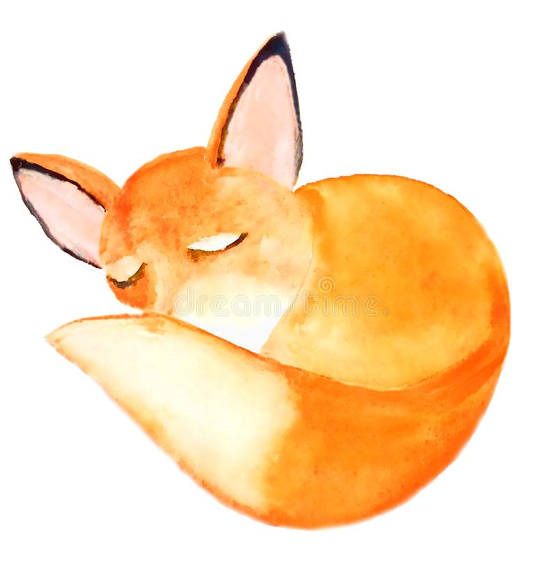 Queue pelucheuse de nez endormi rapide de bâche de Honey Fox illustration de vecteur