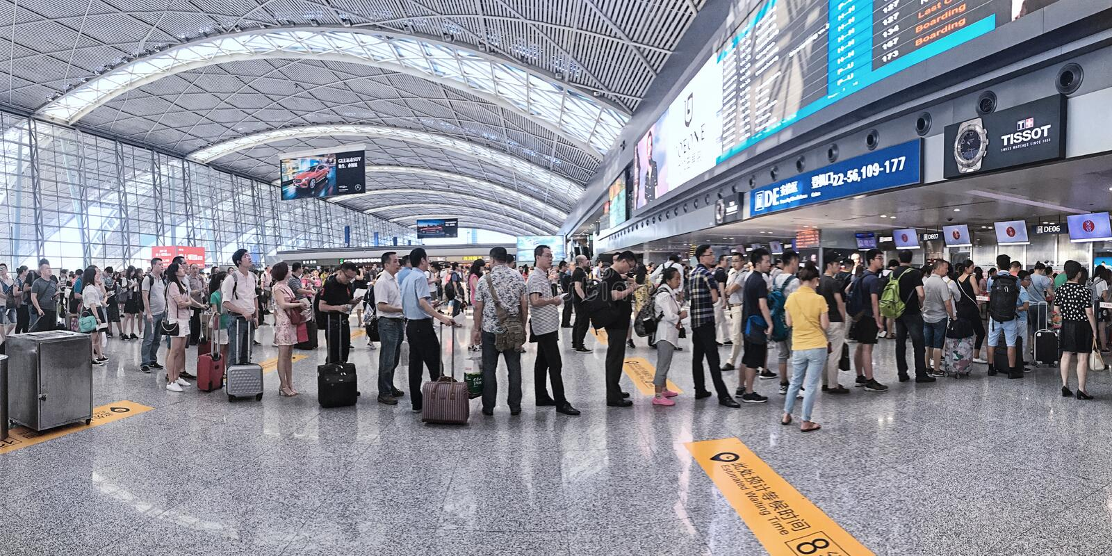 The Queue for Security Check. Interior of Shuangqiao Air Station,China