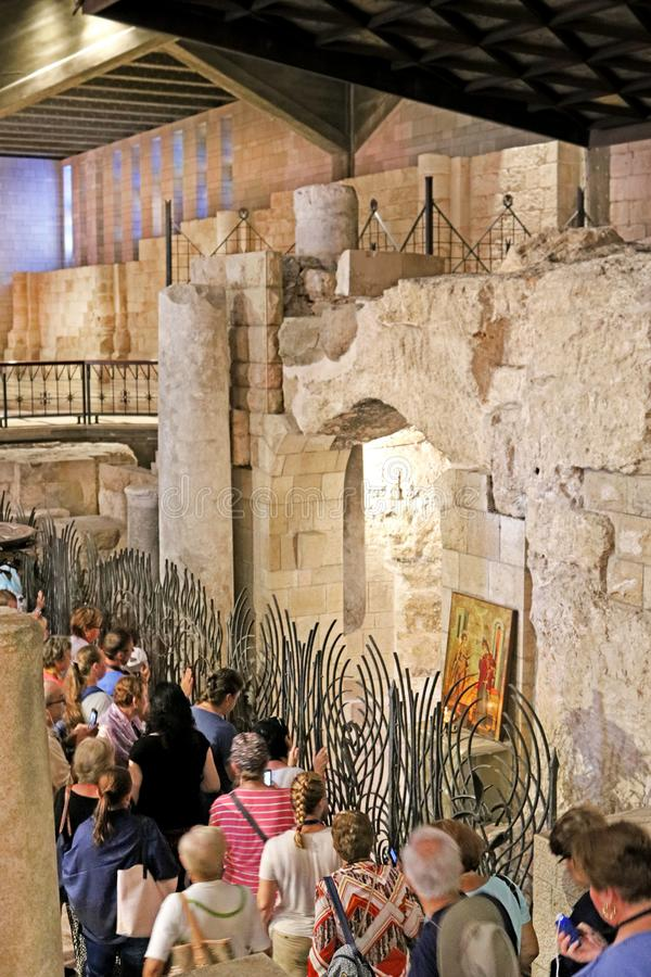 The queue to grotto of the Annunciation lower level of the church, the Basilica of the Annunciation, Church of the Annunciation stock photos