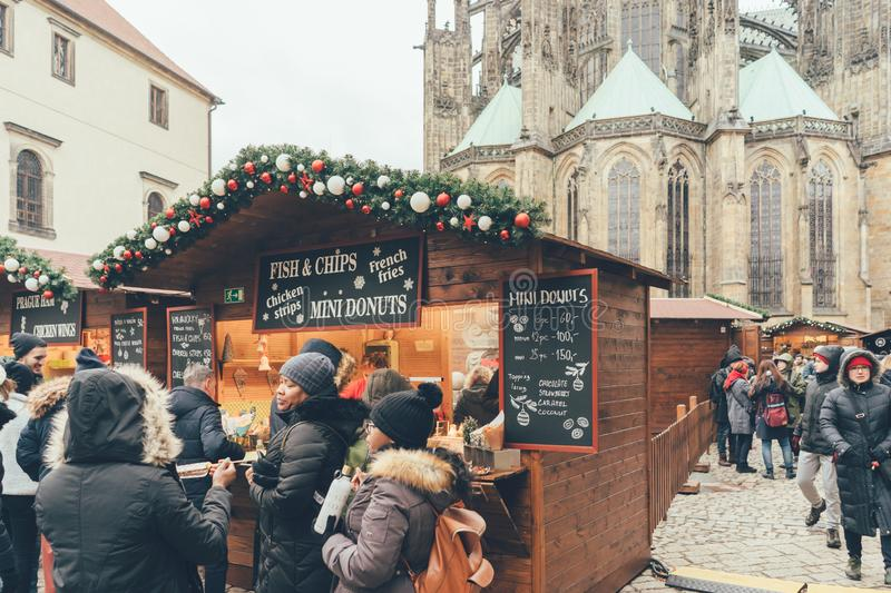 Queue at the traditional Christmas market in Prague royalty free stock images