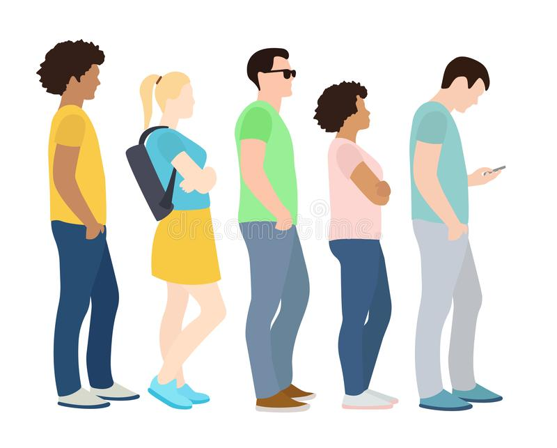 Queue of people. Waiting women and men standing in line. Queue wait woman and man. Vector illustration royalty free illustration
