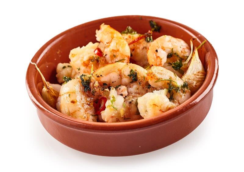 Queues épicées de crevette ou de crevette rose pour les tapas espagnols image libre de droits
