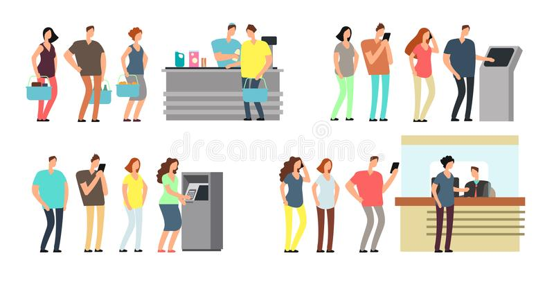 Queues of people vector set. Man and woman standing in line at atm, terminal and bank vector cartoon icons set. Queue man and woman to atm bank, finance vector illustration