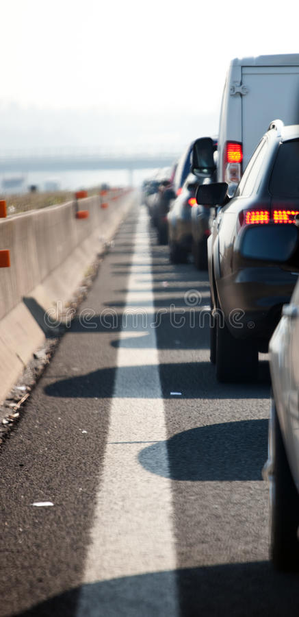 Queues of traffic on the highway stock images