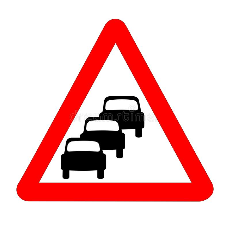 Queuing Traffic Sign Isolated. The traditional `QUEUING` triangle, traffic sign isolated on a white background royalty free illustration