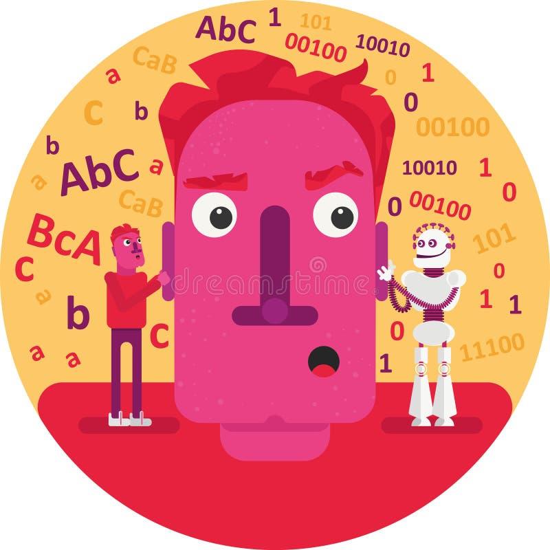 Quién debe nosotros confiar en: nuestras sensaciones, sentido y conocimiento o consejos y decisiones de la inteligencia artificia stock de ilustración