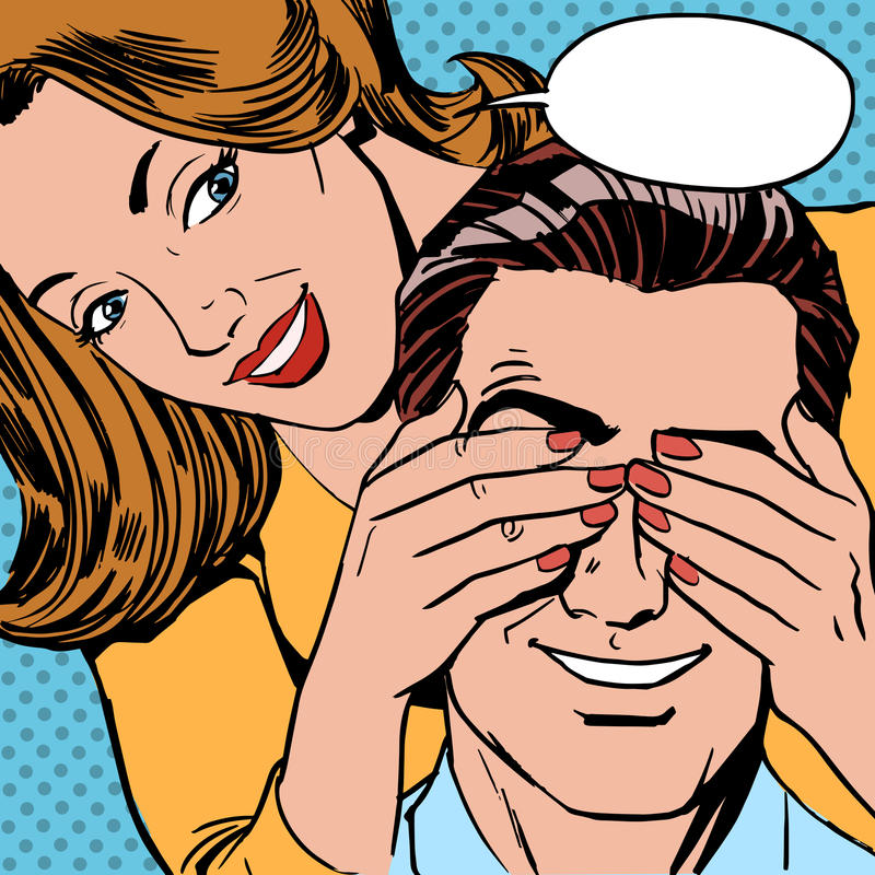 Quién es mujer cerrada la sorpresa del hombre de los ojos libre illustration