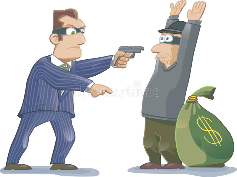 ¿Quién es realmente el ladrón? ilustración del vector