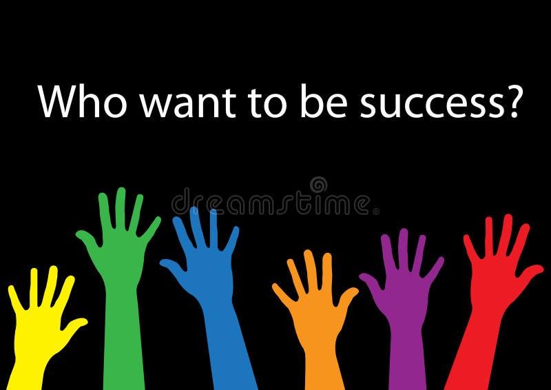 Quién quieren ser mano del éxito ilustración del vector