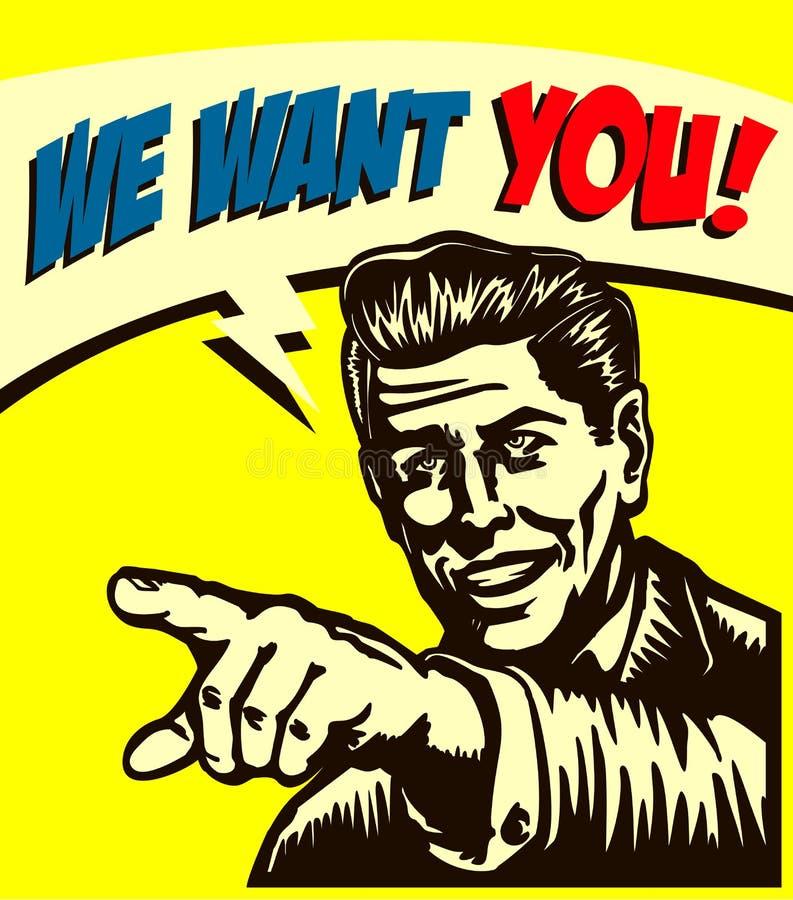¡Quiérale! Hombre de negocios retro con señalar el finger, oferta de empleo ahora estamos empleando la muestra, ejemplo del estil libre illustration
