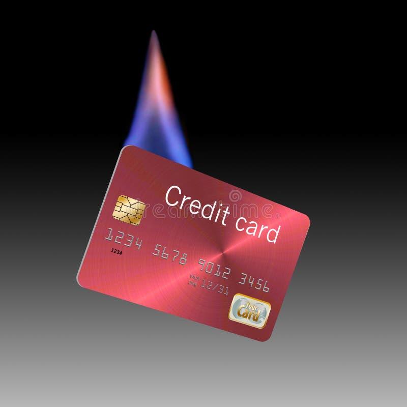 Qui è una carta di credito delle cellule su fuoco Soldi da bruciare immagini stock libere da diritti