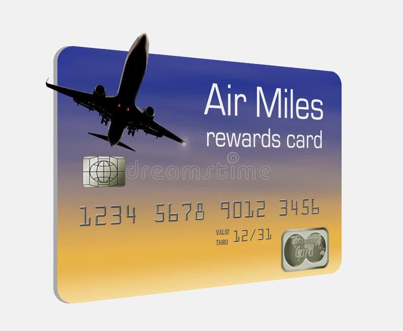 Qui è una carta di credito generica delle ricompense di miglia di aria illustrazione vettoriale