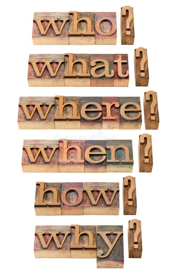 Qui, ce qui, où, quand, pourquoi, comment questions photo stock