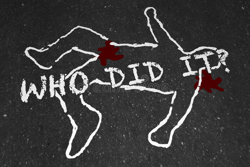Qui il a assassiné le contour suspect de craie de scène du crime illustration libre de droits