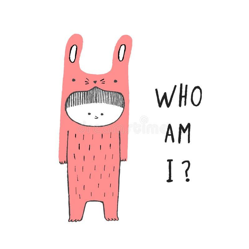 Qui suis moi, garçon dans un costume de lapin images stock