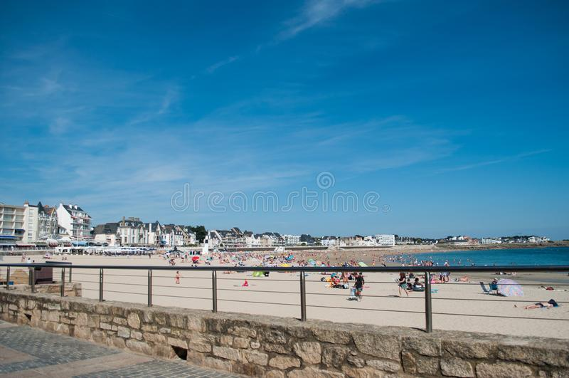 panorama of Quiberon seascape with people on the beach stock photos
