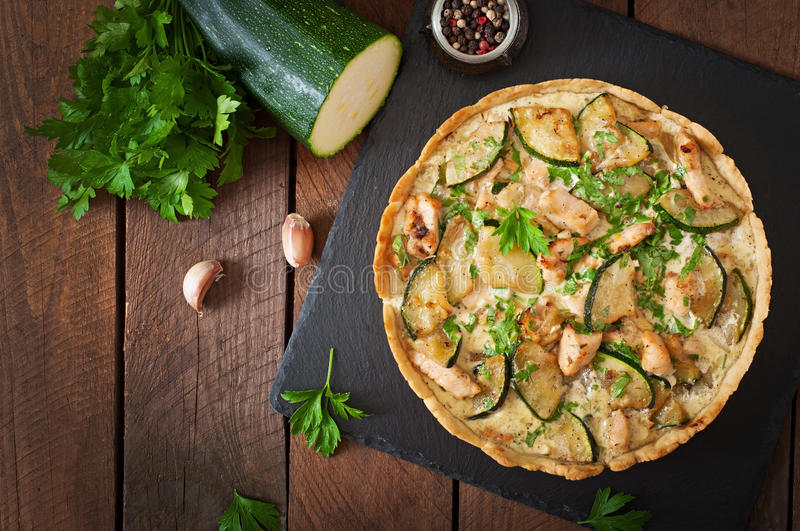 Quiche with chicken royalty free stock images