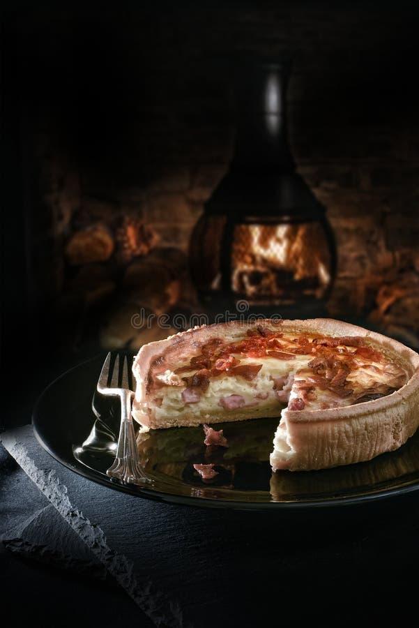 Quiche do queijo e do bacon foto de stock royalty free