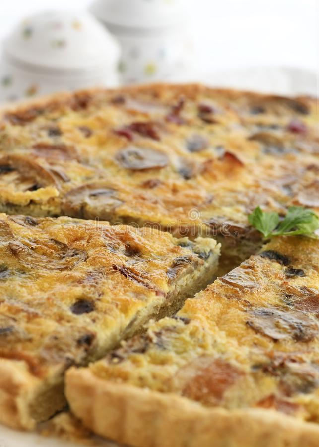 Quiche egg bacon and mushroom royalty free stock photo