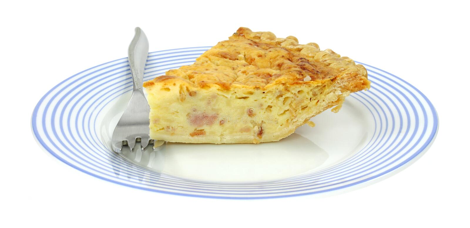 Quiche Lorraine On Plate With Fork Stock Photo