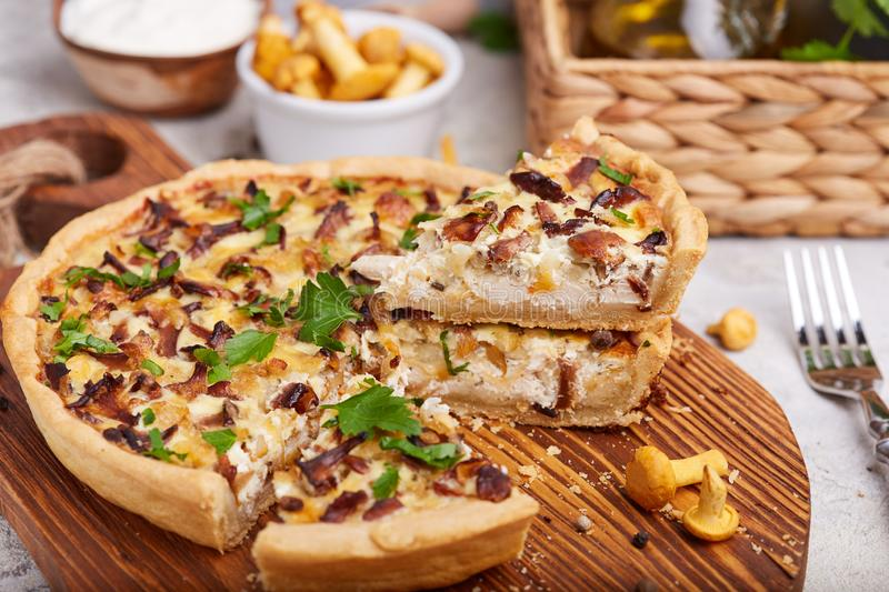 Quiche – open tart pie with chicken meat, chanterelles mushrooms, onion and cheese. Quiche – delicious homemade open tart pie with chicken meat stock image