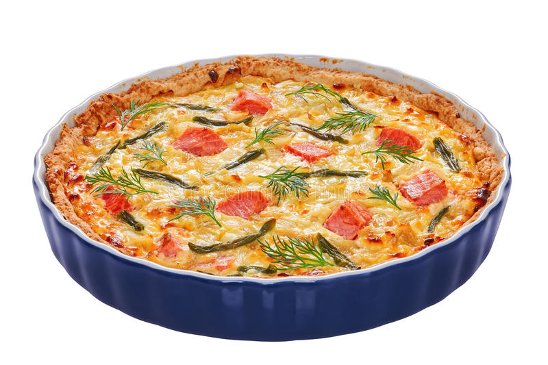 Quiche tart with red fish, close-up royalty free stock photo