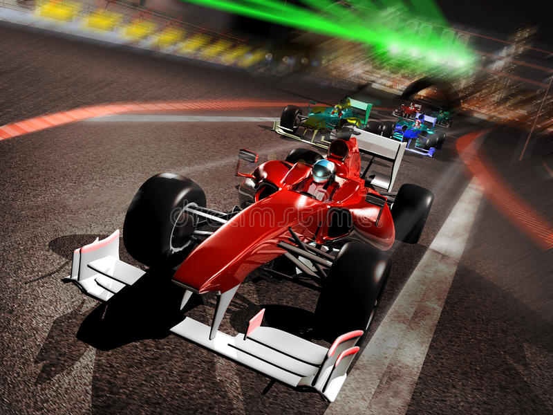 The Quick. Several F1 vehicles in a race. The red one was faster than the others and took the first place at start