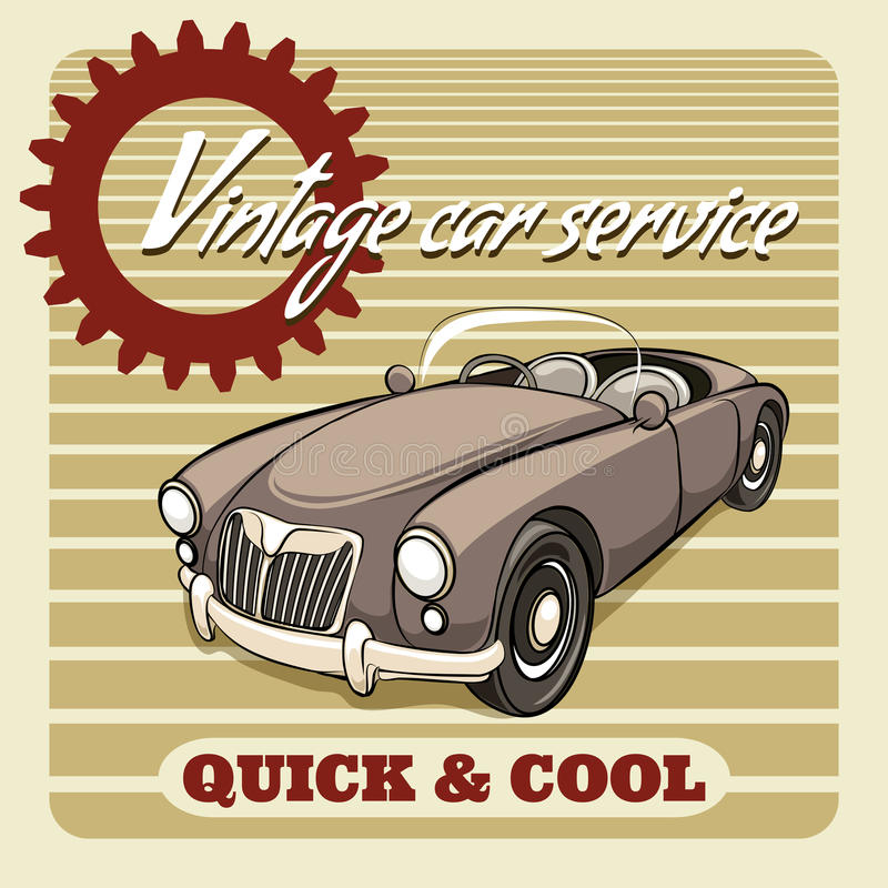 Quick and Cool - Vintage Car Service poster vector illustration