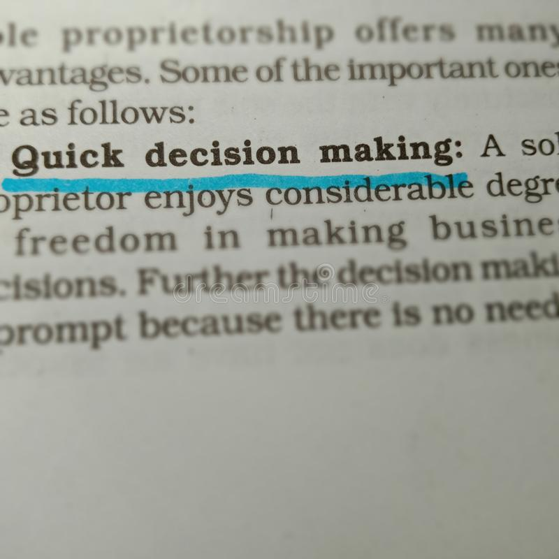 quick decision making text written on book page underlined text form stock photography