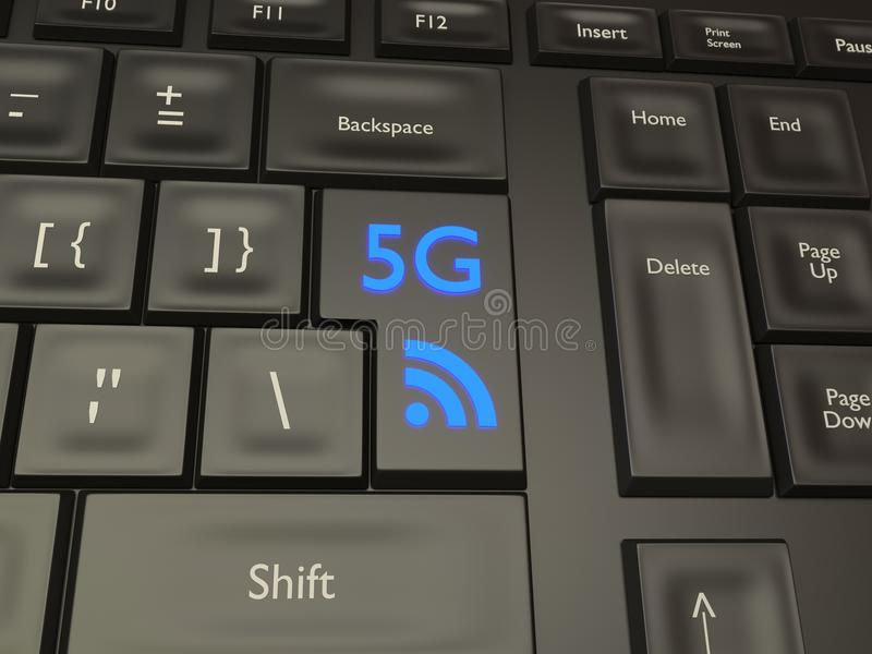 5G Mobile Connection Button stock photography