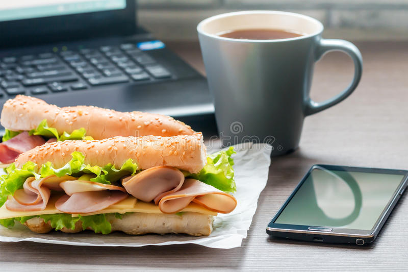 Quick lunch in the office royalty free stock photos
