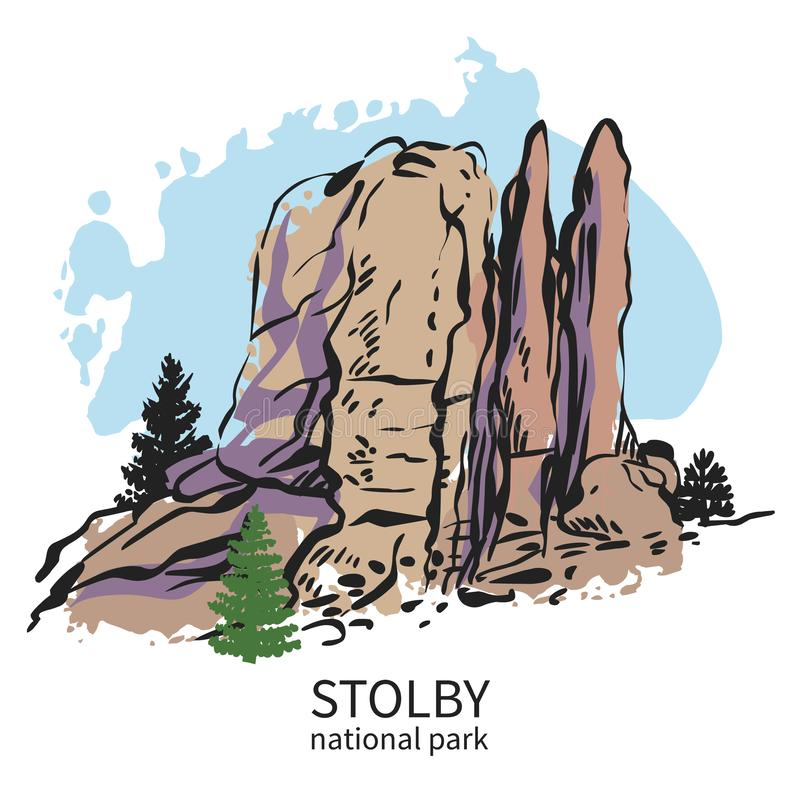 Stolby, national park in Siberia. Feathers rock. Hand drawn vector illustration. Quick sketch of mountains from the popular hiking trail in Siberia, Russia vector illustration