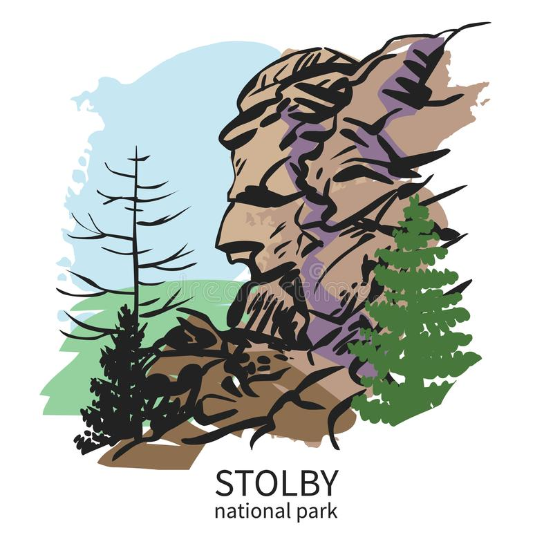 Stolby, national park in Siberia. Hand drawn vector illustration. Quick sketch from popular hiking trail in Siberia, Russia stock illustration