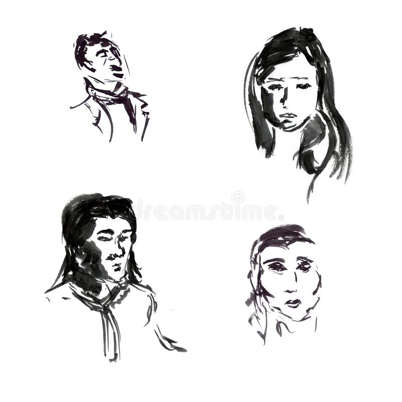 Quick sketches of black ink of male and female portraits in a graphic style royalty free illustration