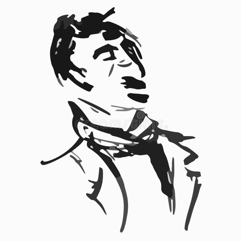 Quick sketches black ink mustachioed male man portrait graphic style - Hand drawing vector illustration stock illustration