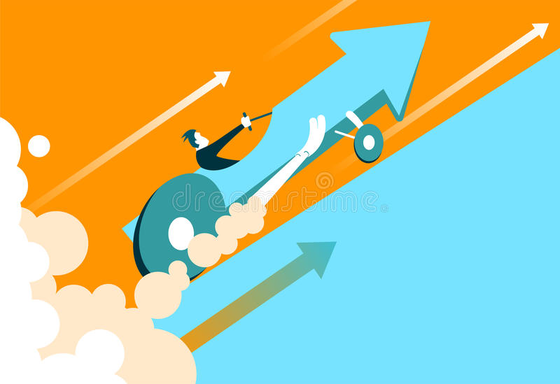 Quick start of business. The enormous speed of the car arrow stock illustration