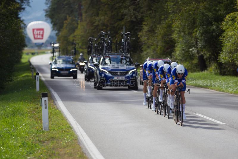 Quick Step Team World Champions Team Time Travel. Quick Step Team is the 2018 World Champions in Team Time Trial here seen on course between Ötztal and Silz royalty free stock image