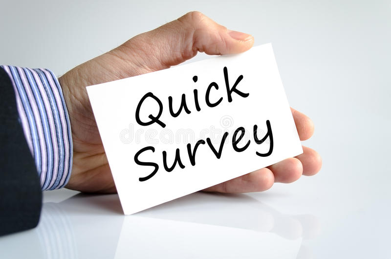Quick survey text concept. Isolated over white background stock photo