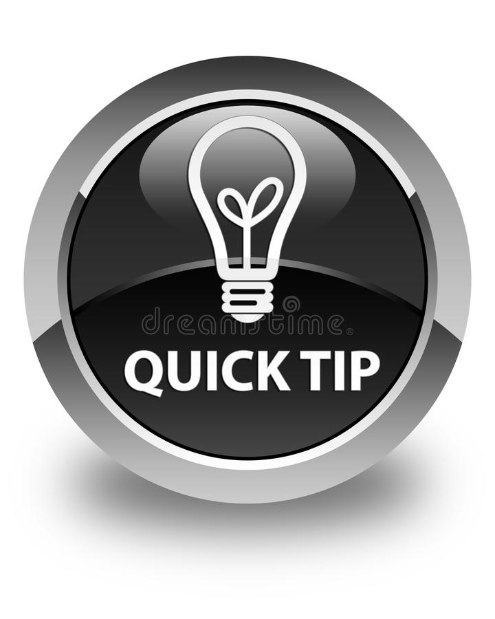 Quick Tip (bulb Icon) Glossy Black Round Button Stock