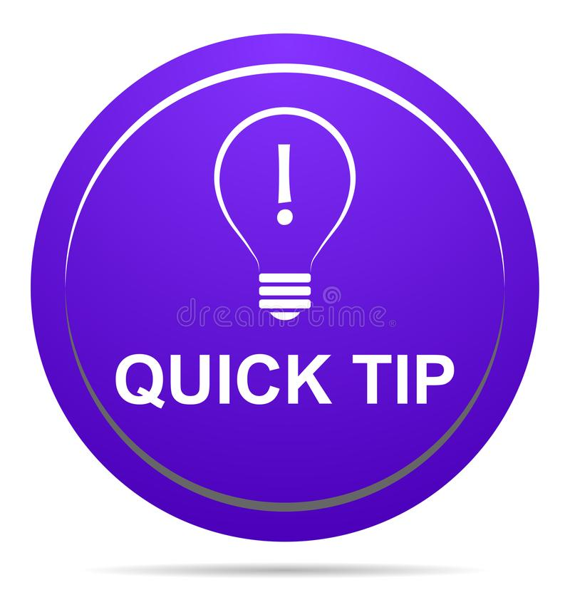 Quick Tip Purple Button Help And Suggestion Concept Stock
