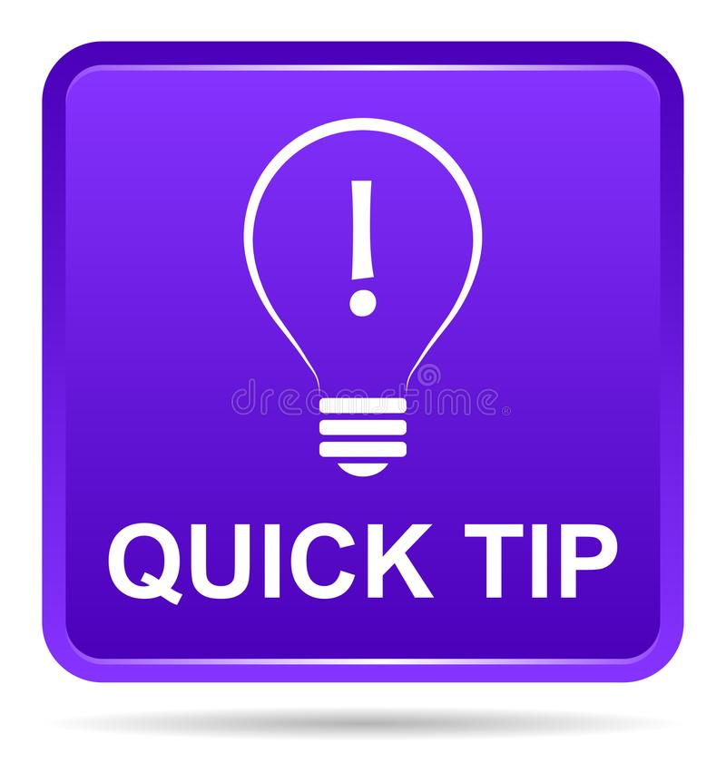 Quick tip purple button help and suggestion concept royalty free illustration