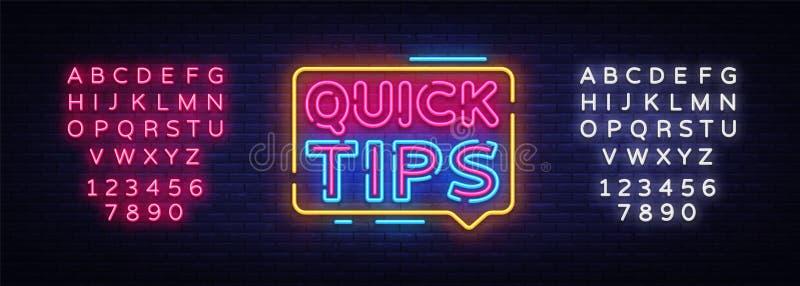 Quick Tips Neon Sign Vector Design Template  Quick Tips Neon