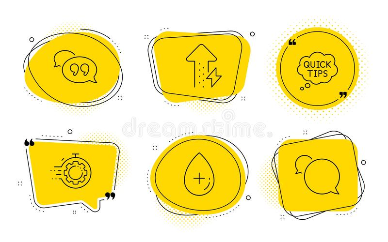 Quick tips, Oil serum and Seo timer icons set. Energy growing, Quote bubble and Messenger signs. Vector royalty free illustration