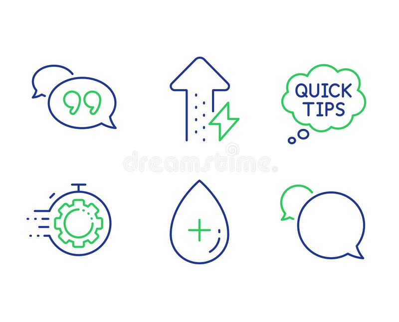Quick tips, Oil serum and Seo timer icons set. Energy growing, Quote bubble and Messenger signs. Vector stock illustration