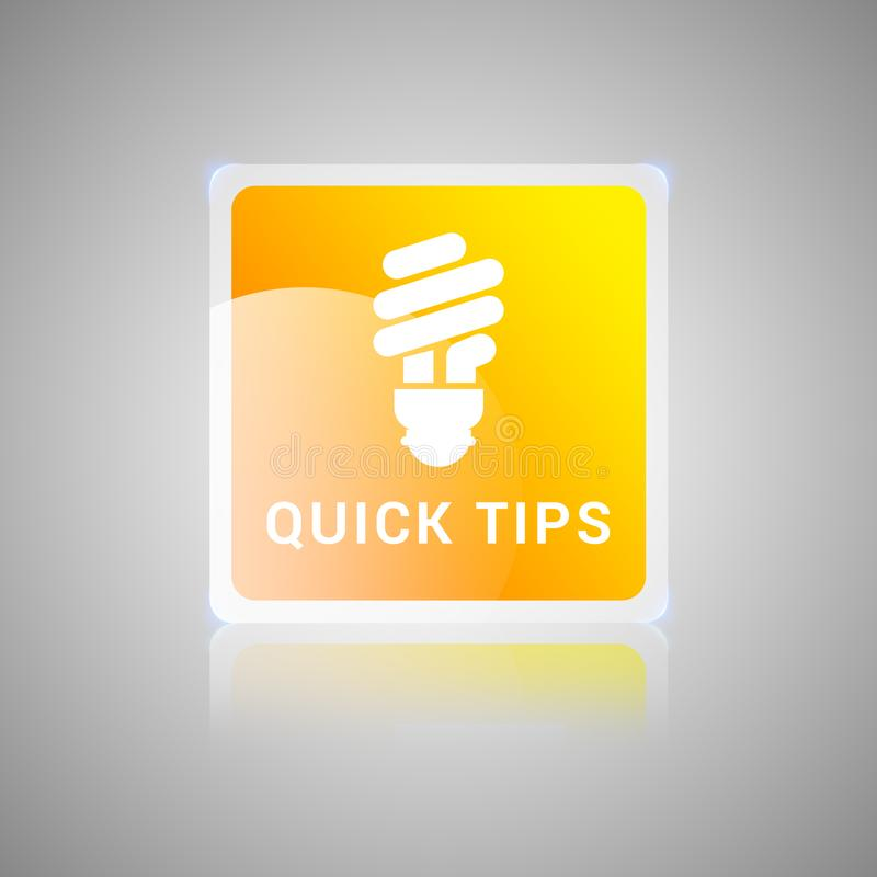 Quick tips orange square glassy button vector illustration