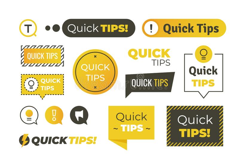 Quick tips shapes. Helpful tricks logos and banners, advices and suggestions emblems. Vector quick helpful tips stock illustration