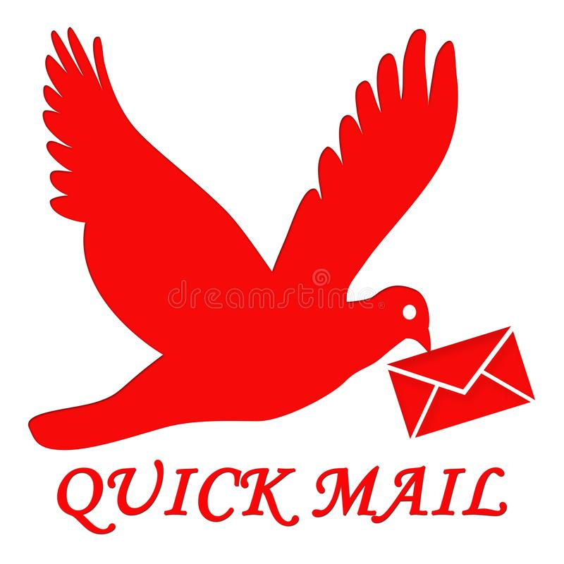 Quickmail. This is an image showing a bird carrying an envelope in its beak while flying. Birds travel long distances in a short time. The colour red portrays royalty free illustration