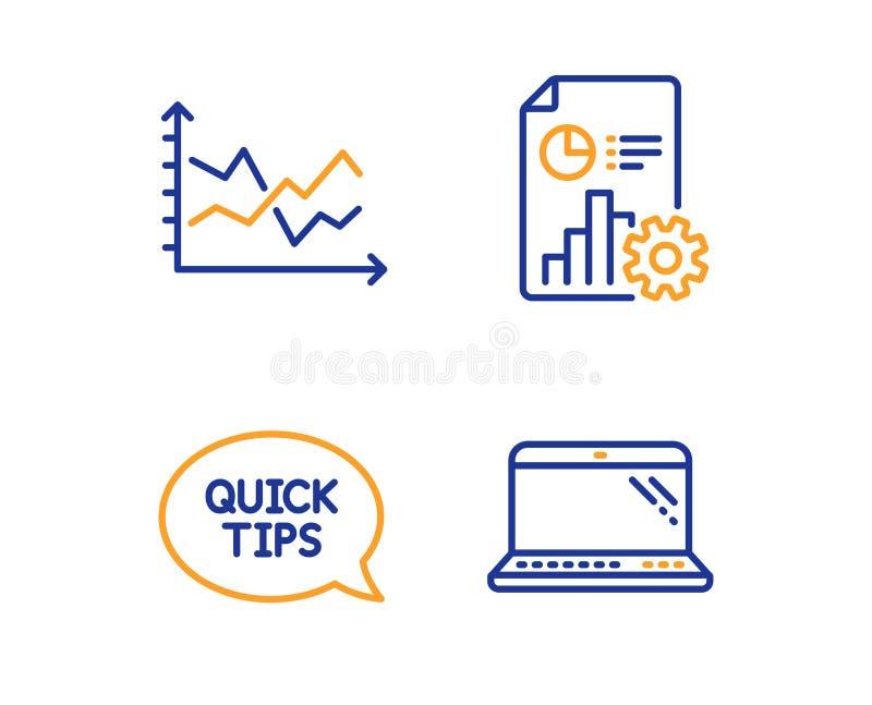 Quickstart handbok, uppsättning för rapport- och diagramdiagramsymboler Bärbar datortecken vektor vektor illustrationer