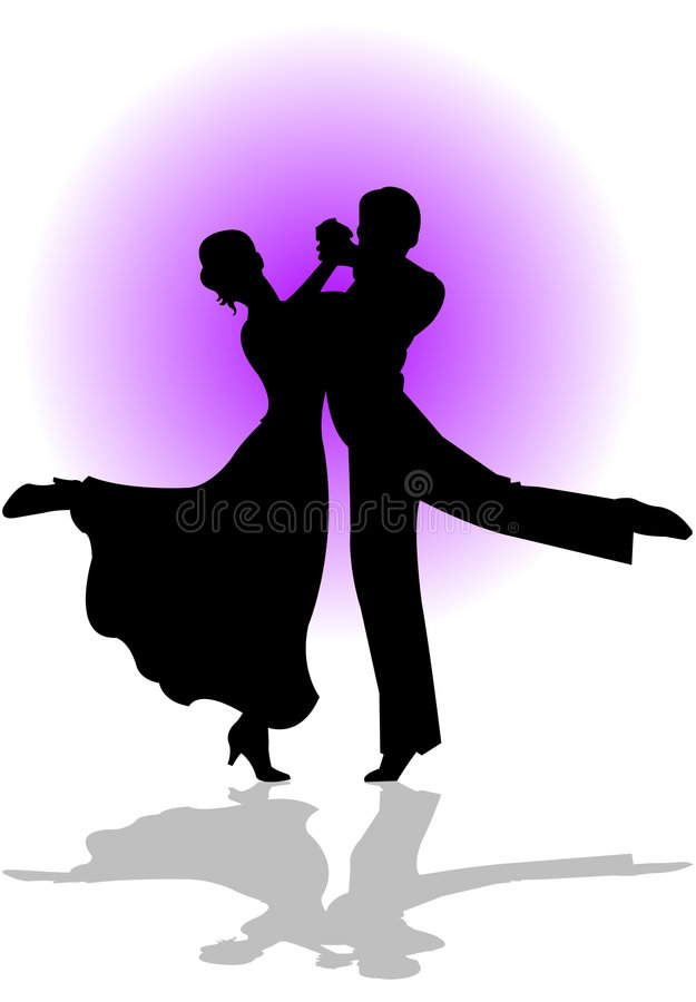 Quickstep Dance. Silhouette illustration of a couple dancing the quickstep